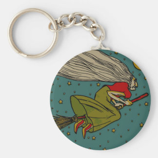 Vintage Halloween, Evil Witch Flying on Broomstick Keychain
