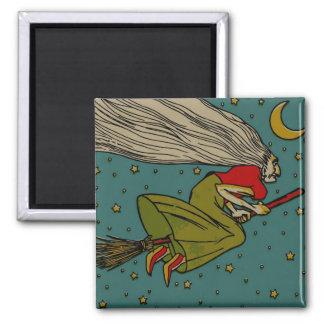 Vintage Halloween, Evil Witch Flying on Broomstick Magnet