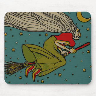 Vintage Halloween, Evil Witch Flying on Broomstick Mouse Pad