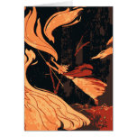 Vintage Halloween, Evil Witch with Fire in Forest Greeting Card