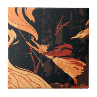 Vintage Halloween, Evil Witch with Fire in Forest Ceramic Tile