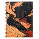 Vintage Halloween, Evil Witch with Fire in Forest Notebook