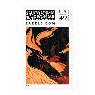 Vintage Halloween, Evil Witch with Fire in Forest Stamps