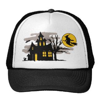 Vintage Halloween Flying over Haunted House Trucker Hat