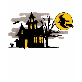 Vintage Halloween Flying over Haunted House shirt
