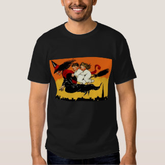 Vintage Halloween FLYING WITCH Kids Costume Party Tee Shirts