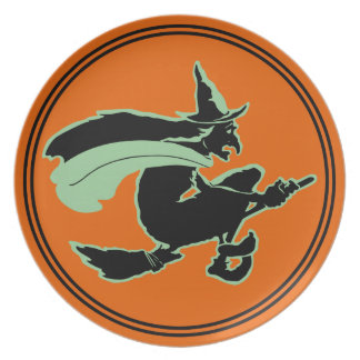 Vintage Halloween Flying Witch Plate