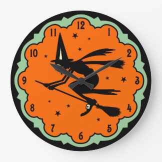 Vintage Halloween Flying Witch Wall Clock