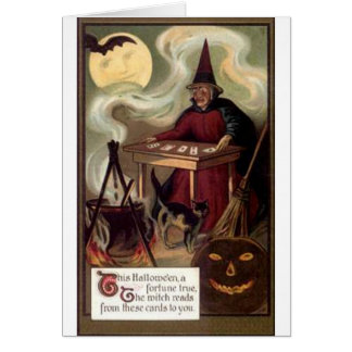 Vintage Halloween Fortune Teller Card