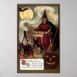 Vintage Halloween Fortune Teller Poster