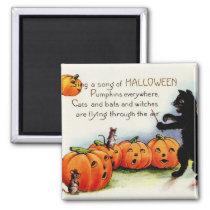 Vintage Halloween Funny Spooky Cat Magnet