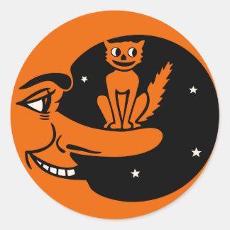 Vintage Halloween - gato en la luna Etiqueta