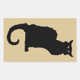 Vintage Halloween, gato negro de Nouveau del arte Pegatina Rectangular