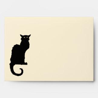 Vintage Halloween, gato negro de Nouveau del arte Sobres