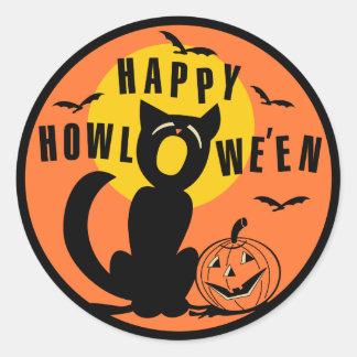 Vintage Halloween - gato negro del feliz Halloween Etiqueta