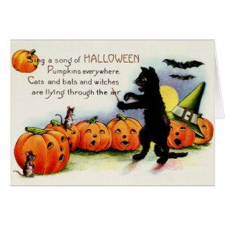Vintage Halloween, gato negro, tarjeta de las