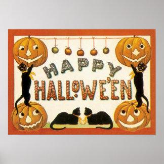 Vintage Halloween, gatos retros con las calabazas Póster