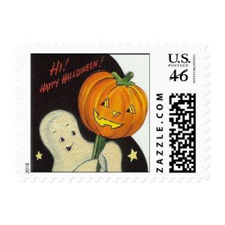 Vintage Halloween Ghost Pumpkin - Postage Stamp
