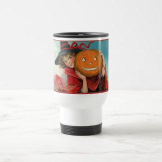 Vintage Halloween Girl and a Pumkin Travel Mug