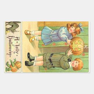 Vintage Halloween Girl and Boy Rectangular Sticker