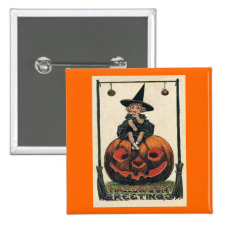 Vintage Halloween Girl on Jack o Lantern Pinback Button