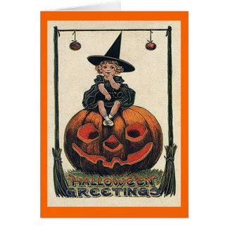 Vintage Halloween Girl on Jack o'Lantern Card