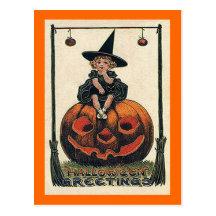 Vintage Halloween Girl on Jack o'Lantern Postcard