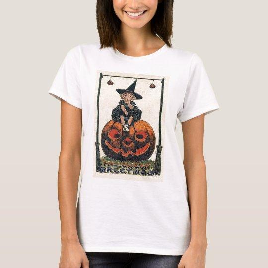Vintage Halloween Girl on Jack o'Lantern T-Shirt