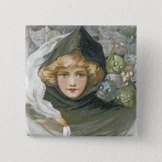 Vintage Halloween Girl Pinback Button