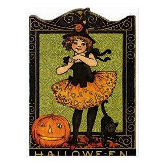 Vintage Halloween Girl Postcard