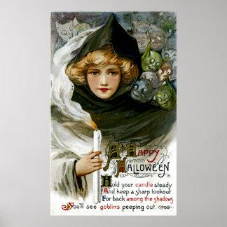 Vintage Halloween Girl Poster
