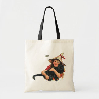 Vintage Halloween, Girl Witch with Black Cat Budget Tote Bag