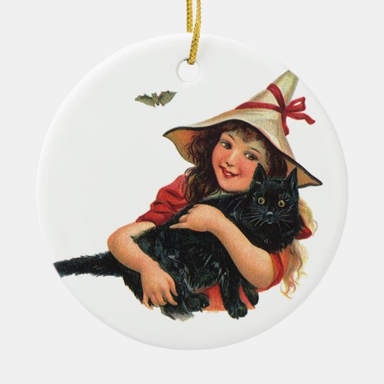 Vintage Halloween, Girl Witch with Black Cat Ceramic Ornament