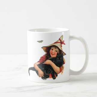 Vintage Halloween, Girl Witch with Black Cat Coffee Mug