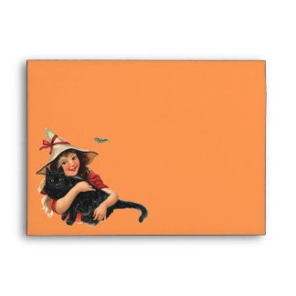 Vintage Halloween, Girl Witch with Black Cat Envelope