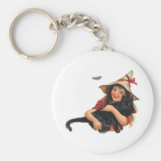 Vintage Halloween, Girl Witch with Black Cat Keychain