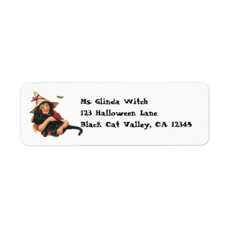 Vintage Halloween, Girl Witch with Black Cat Label