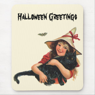 Vintage Halloween, Girl Witch with Black Cat Mouse Pad