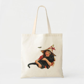 Vintage Halloween, Girl Witch with Black Cat Tote Bag