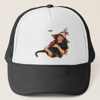Vintage Halloween, Girl Witch with Black Cat Trucker Hat
