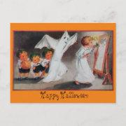 Vintage Halloween Girl with Candle Postcard