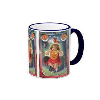 Vintage - Halloween Girl with Mask Coffee Mugs