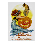 Vintage Halloween Glamour Poster