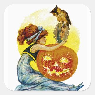 Vintage Halloween Glamour Square Sticker