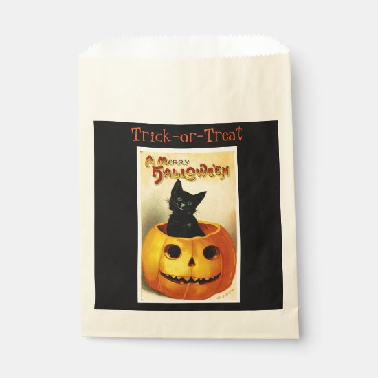 Vintage Halloween Goodie Bag with Pumpkin & Cat