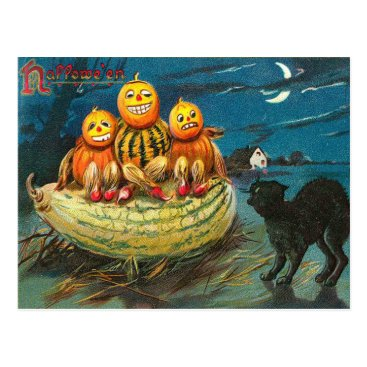 Halloween Themed Vintage Halloween Gourds, Hallows Postcard
