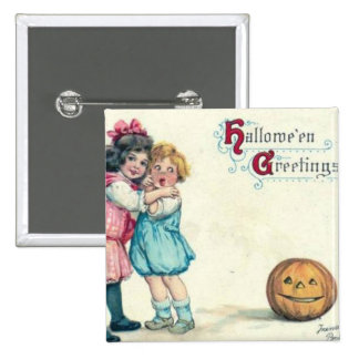 Vintage Halloween Greeting Pinback Buttons