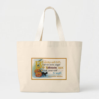 Vintage Halloween Greeting Card Large Tote Bag