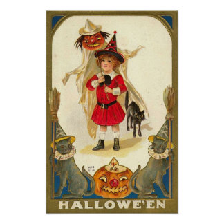 Vintage Halloween Greeting Cards Clas Posters