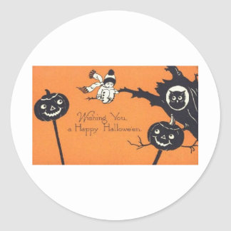 Vintage Halloween Greeting Cards Classic Posters Classic Round Sticker